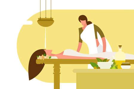 Illustration of a woman undergoing traditional Ayurvedic massage