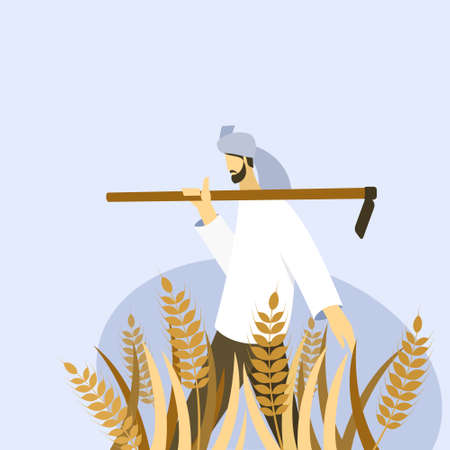 A farmer holding a spade walks through a wheat farm Vector Illustratie