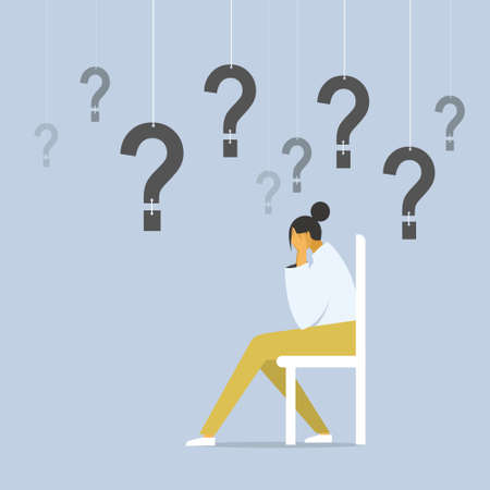 Conceptual illustration of a depressed girl sitting on a chair with questions hanging around her