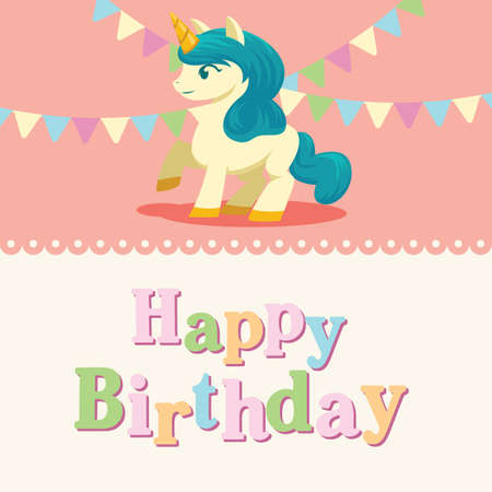 Unicorn Birthday Card Template Stock Vector - 76192073