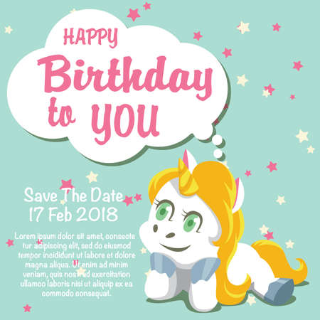 Unicorn Birthday Card Template Royalty Free Cliparts Vectors And
