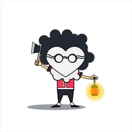 vector cartoon illustration of a man carrying ax and lantern. Horror vector illustration. Cartoon vector illustration