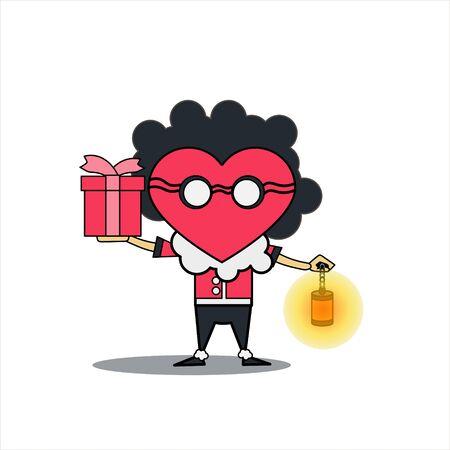 vector cartoon illustration of a man carrying a gift and a lantern. vector illustration of valentines day. cartoon vector illustration