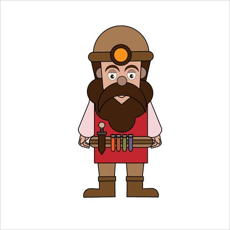 vector illustration of a dwarf cartoon. Vector illustration of cartoons for clip art, cards, banners, comics, stickers, tattoos and games