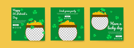 Collection of social media post templates for saint patrick's day. celebrate saint patrick's day. Have a lucky day. Irish green party.