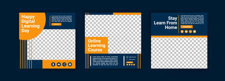 Happy digital learning day. Online courses and classes. Social media post templates for digital marketing and promotion. Advertisements for webinars. Keep studying even at home.