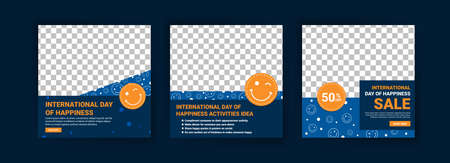 International Day Of Happiness. Collection of social media post templates for International Day of Happiness. Vetores