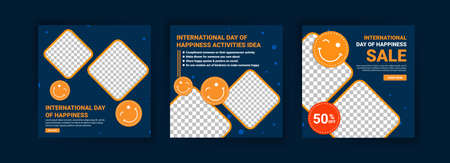 International Day Of Happiness. Collection of social media post templates for International Day of Happiness.