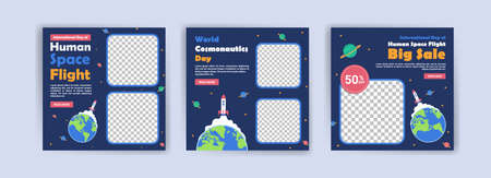 International Day of Human Space Flight. World cosmonautics day. Banners vector for social media ads, web ads, business messages, discount flyers and big sale banner.