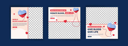 World Blood Donor Day. Education about the importance of donating blood. Banner vector for social media ads, web ads, business messages, discount flyers and big sale banners.