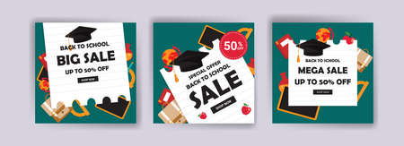 Back to school. Back to school sale. Banner vector for social media ads, web ads, postcard, card, business messages, discount flyers and big sale banners.