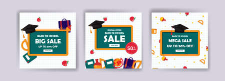 Back to school. Back to school sale. Banner vector for social media ads, web ads, postcard, card, business messages, discount flyers and big sale banners. Vecteurs