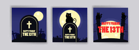 Friday the 13th banner. Banner with cute cat for cards, postcards, social media ads and posters. Vektoros illusztráció