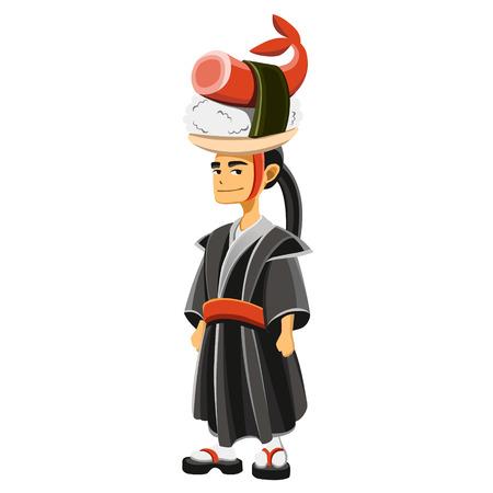 yukata: illustration of a cartoon samurai Illustration