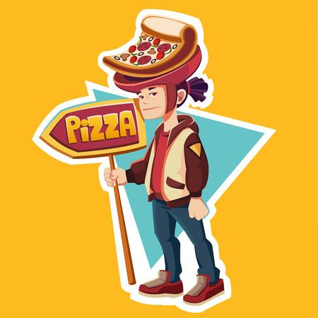 Golden Boy Pizza. Boy with pizza. Pizzeria