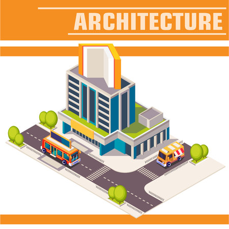 Vector isometric icon or infographic element. Library. Town street with buildings