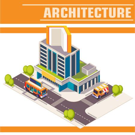 ortseingangsschild: Vector isometrische Symbol oder Infografik-Element. Bibliothek. Stadtstraße mit Gebäuden