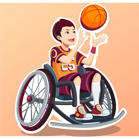Isometric. Sport for Children with disabled activity. Child. Vector illustration
