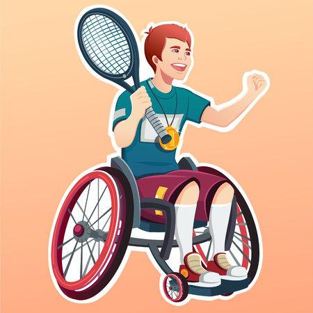 若い男性には、テニス選手が無効になります。スポーツ コンセプト