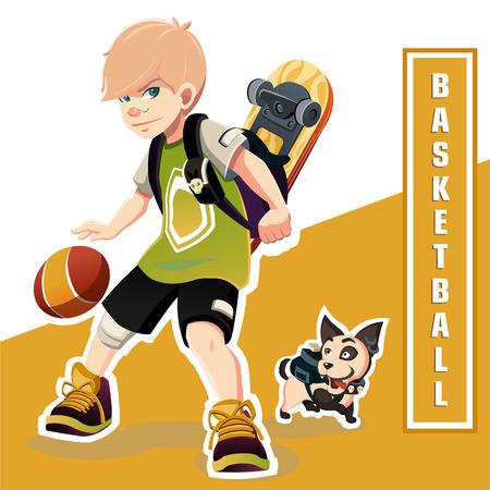 Young Boy Playing Basketball. Amazing  Kid. 向量圖像