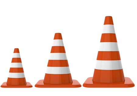 Traffic cones on different size Stock Photo - 10416056