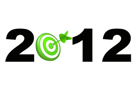 New Year 2012 black and green target and dart 3d render business concept