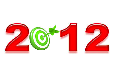 New Year 2012 red and green target and dart Stock Photo - 11398902