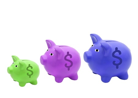 different colour   size Piggy bank style money box isolated