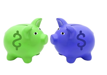 Piggy bank style money box isolated on a white studio