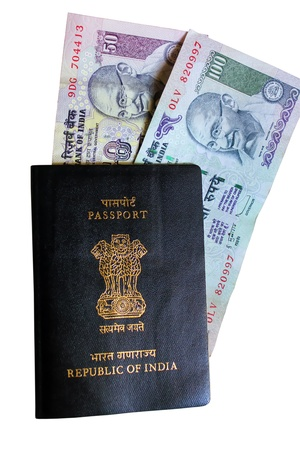 Indian passport and currency Stock Photo