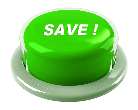 frugal: A green button with the word Save! on it