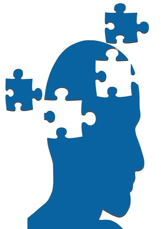 problem solving: MISSING PIECES MENTAL PUZZLE Stock Photo