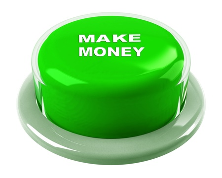 small business team: A round, green button on a white background reading Make Money