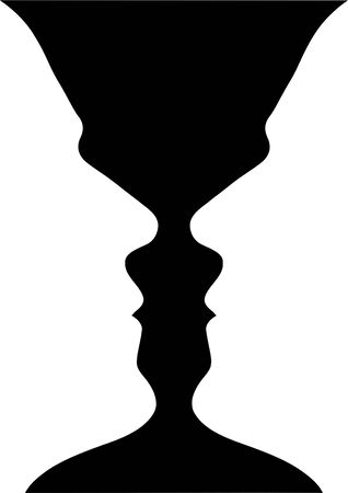 'peace of mind': Two human heads or Vase?