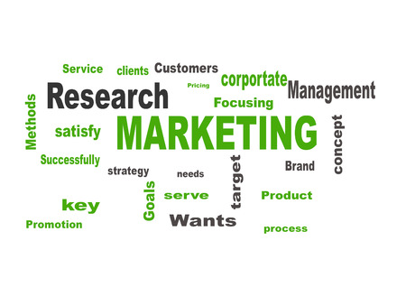 Marketing business strategy word cloud vector illustration
