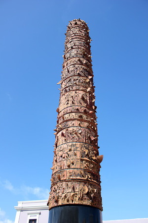Totem Telurico stands in the Quincentennial Plaza Old San Juan in Puerto Rico Stock Photo