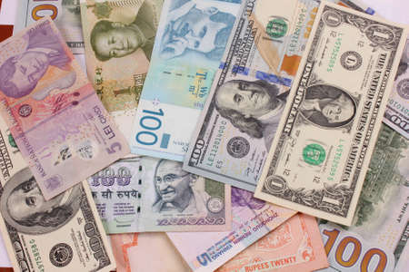 bank notes: money from all over the world Stock Photo