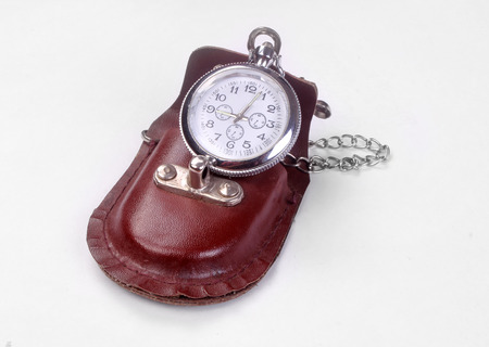 Old pocket watch, open, isolated on white background Stock Photo
