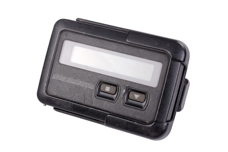 Old pager device isolate on white background Stock Photo