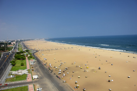 elevated view: Arial view over chennai,marina beach,india