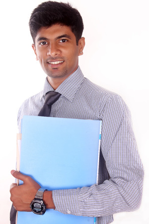 business, people, finances and paper work concept - happy smiling businessman in suit holding folder