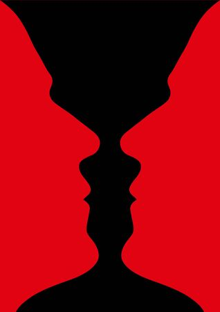 Human head make a silhouette of vase, vector illustration Stock Photo