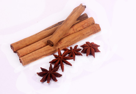 Star anise & cinnamon isolated on white background