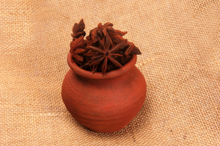 Star anise in a pot Stock Photo
