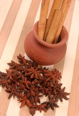 Star anise & cinnamon isolated