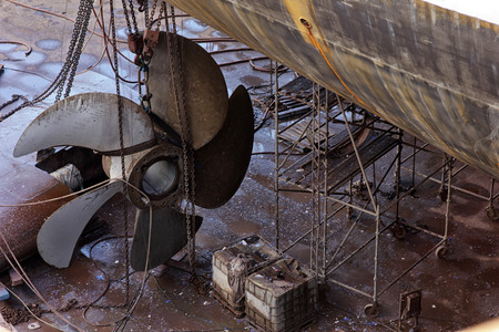 drydock: ship stern and propeller at drydock Stock Photo
