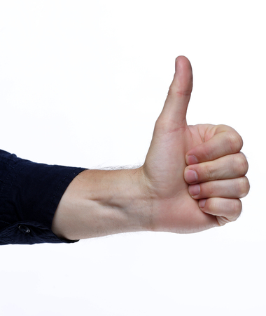 hand with thumb up isolated on white background