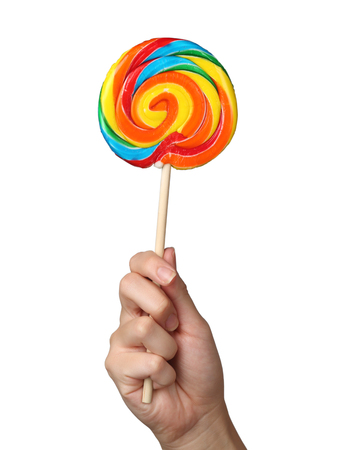 Colorful spiral lollipop isolated on white Stock Photo
