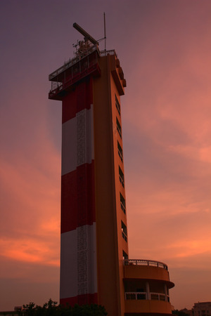 Madras: silhouette of Chennai light house Stock Photo