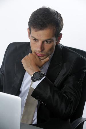 Young businessman frustrated on his work and out of control